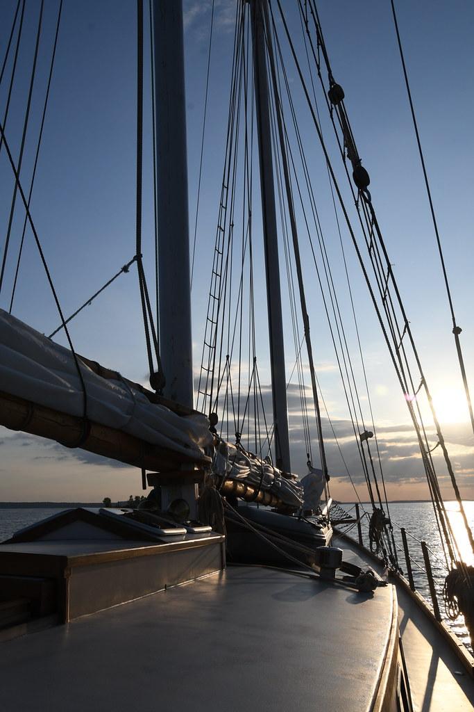 Rigging at Sunset Aboard the Schooner Huron Jewel