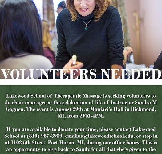 Lakewood School of Therapeutic Massage is seeking volunteers to do chair massage...